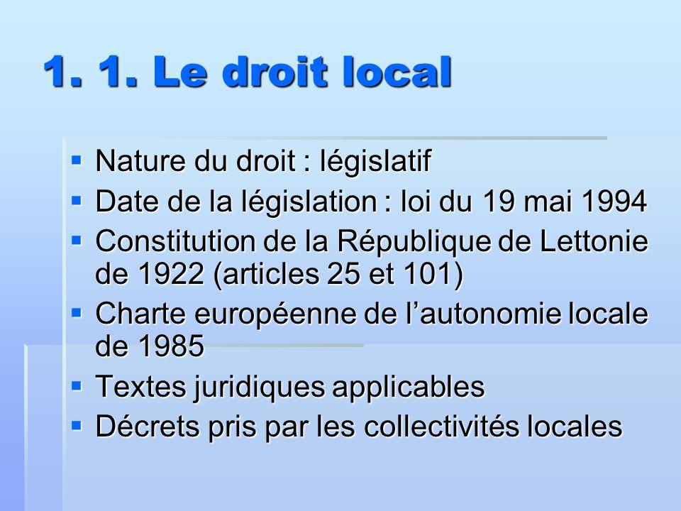 1. 1. Le droit local  Nature du droit : législatif  Date de la législation : loi du 19 mai 1994  Constitution de la République de Lettonie de 1922