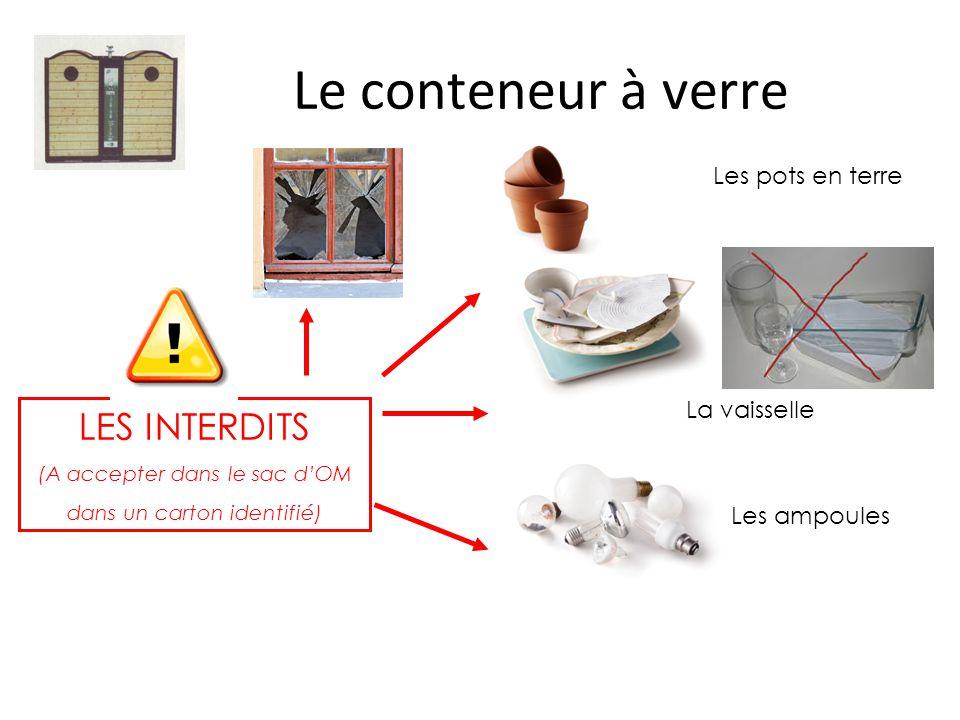 Le conteneur à verre LES INTERDITS (A accepter dans le sac d'OM dans un carton identifié) Les pots en terre La vaisselle Les ampoules