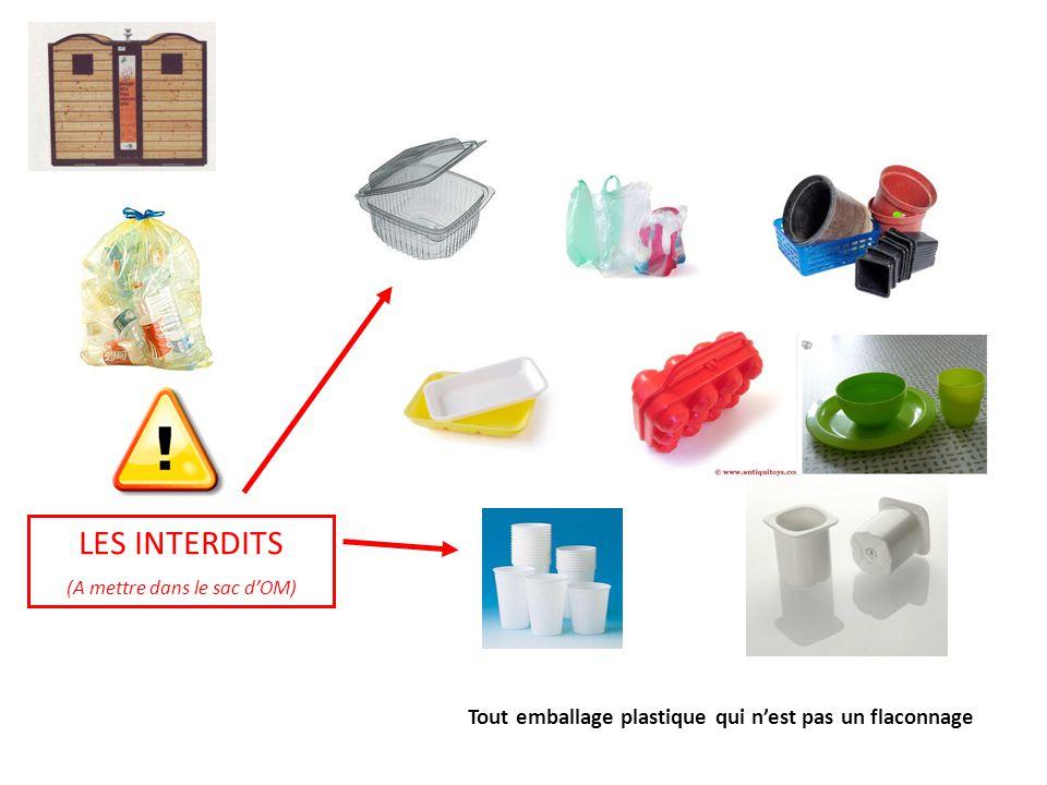 LES INTERDITS (A mettre dans le sac d'OM) Tout emballage plastique qui n'est pas un flaconnage