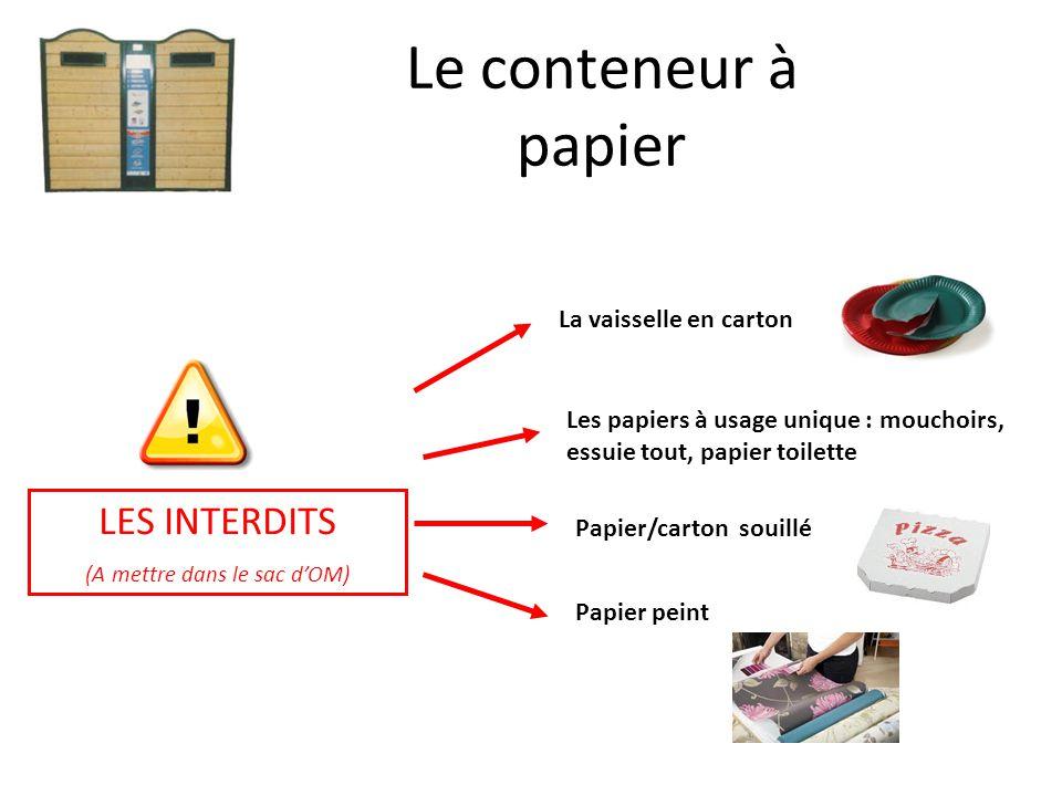 LES INTERDITS (A mettre dans le sac d'OM) Le conteneur à papier La vaisselle en carton Les papiers à usage unique : mouchoirs, essuie tout, papier toi