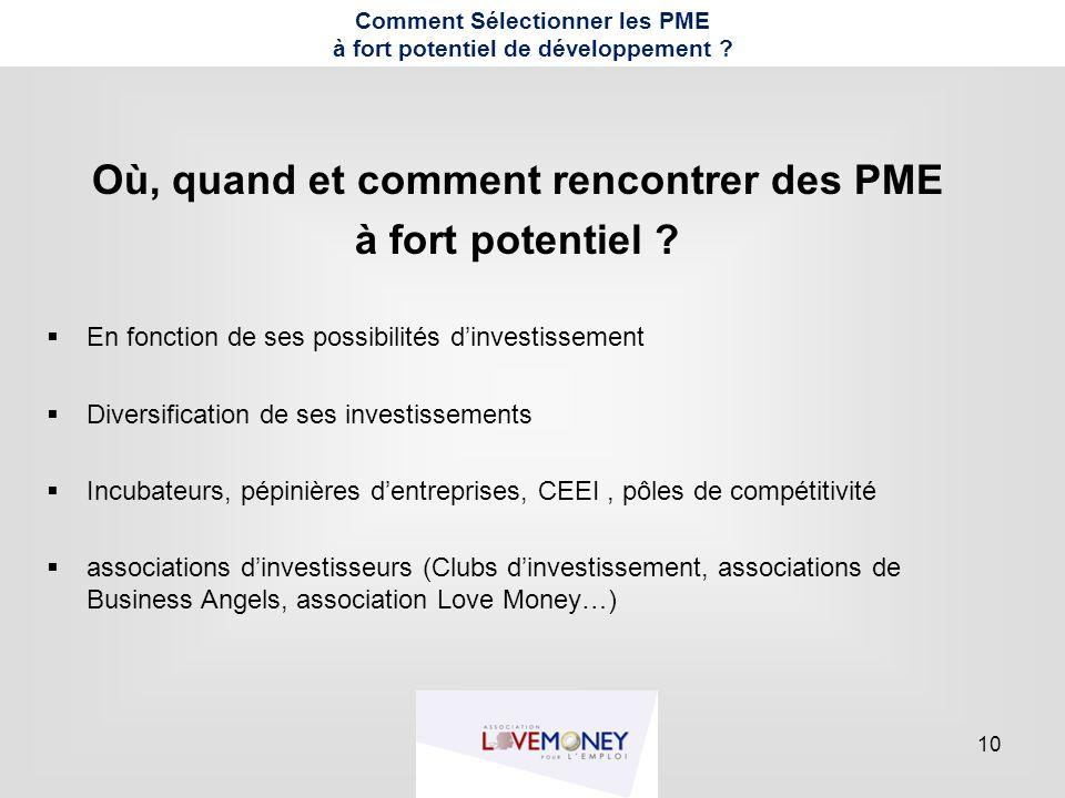 10 Comment Sélectionner les PME à fort potentiel de développement ? Où, quand et comment rencontrer des PME à fort potentiel ?  En fonction de ses po