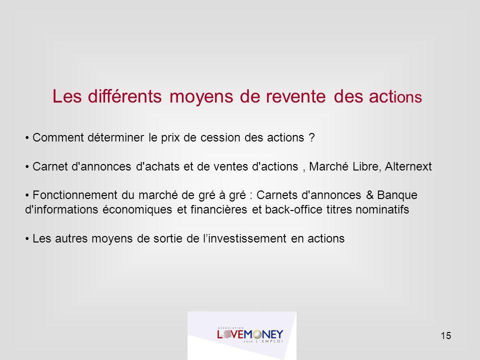 Les différents moyens de revente des act ions Comment déterminer le prix de cession des actions ? Carnet d'annonces d'achats et de ventes d'actions, M