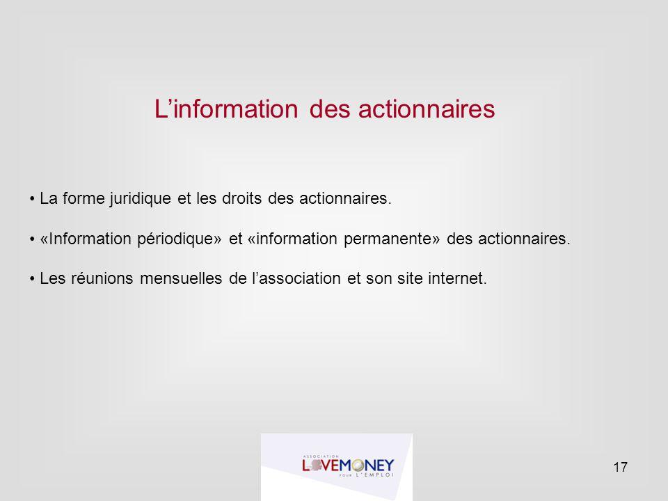 L'information des actionnaires La forme juridique et les droits des actionnaires. «Information périodique» et «information permanente» des actionnaire