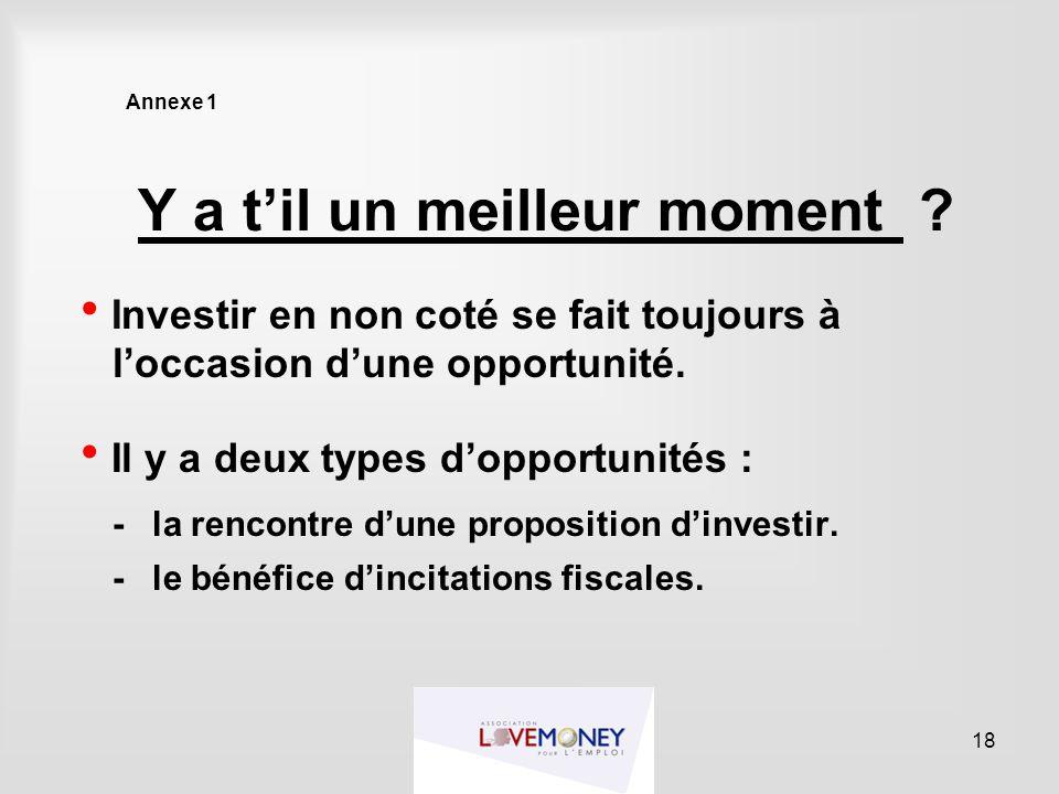 Annexe 1 Y a t'il un meilleur moment ?  Investir en non coté se fait toujours à l'occasion d'une opportunité.  Il y a deux types d'opportunités : -l