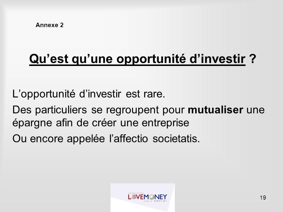 Annexe 2 Qu'est qu'une opportunité d'investir ? L'opportunité d'investir est rare. Des particuliers se regroupent pour mutualiser une épargne afin de