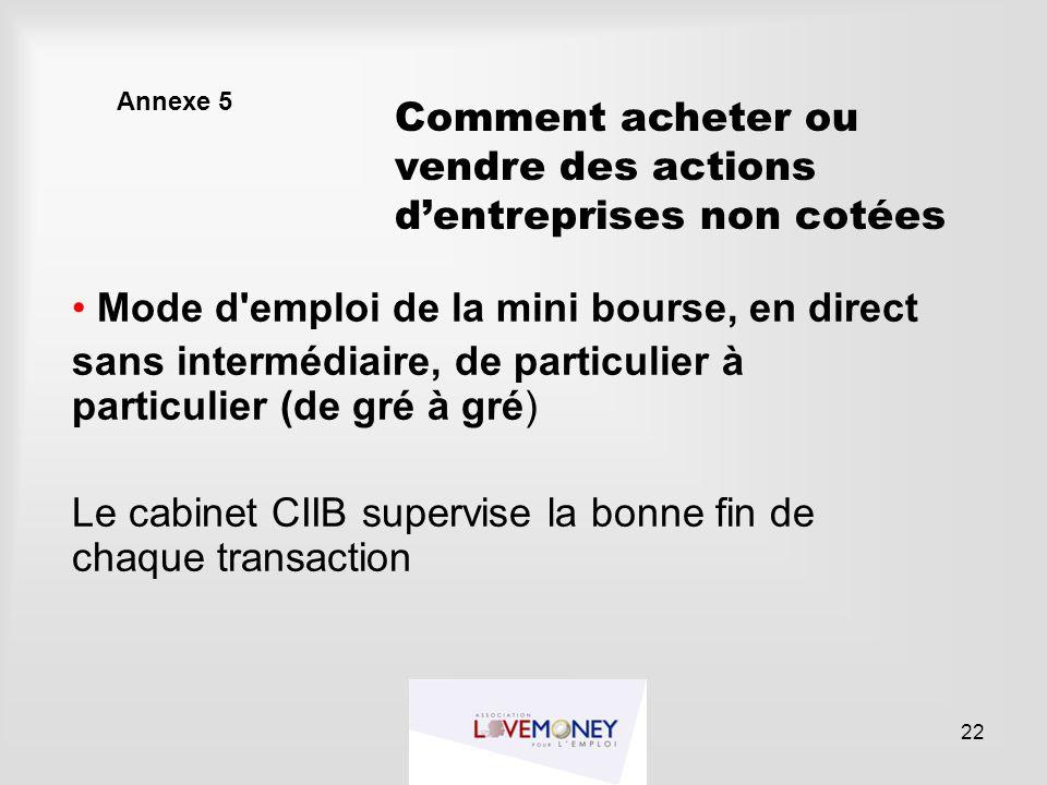 Annexe 5 Mode d'emploi de la mini bourse, en direct sans intermédiaire, de particulier à particulier (de gré à gré) Le cabinet CIIB supervise la bonne