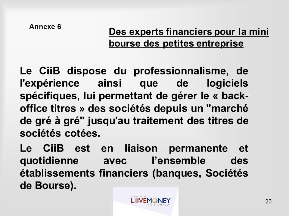 Annexe 6 Le CiiB dispose du professionnalisme, de l'expérience ainsi que de logiciels spécifiques, lui permettant de gérer le « back- office titres »