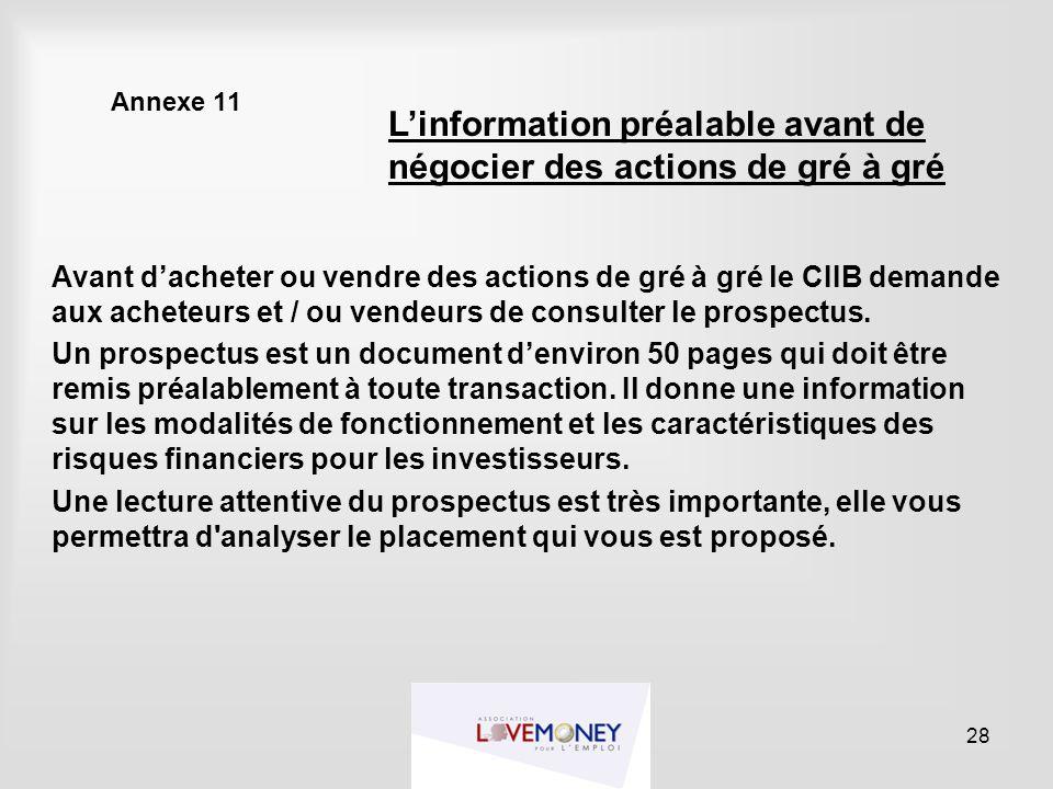 Annexe 11 Avant d'acheter ou vendre des actions de gré à gré le CIIB demande aux acheteurs et / ou vendeurs de consulter le prospectus. Un prospectus