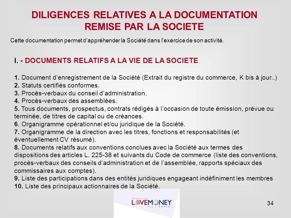 DILIGENCES RELATIVES A LA DOCUMENTATION REMISE PAR LA SOCIETE Cette documentation permet d'appréhender la Société dans l'exercice de son activité. I.