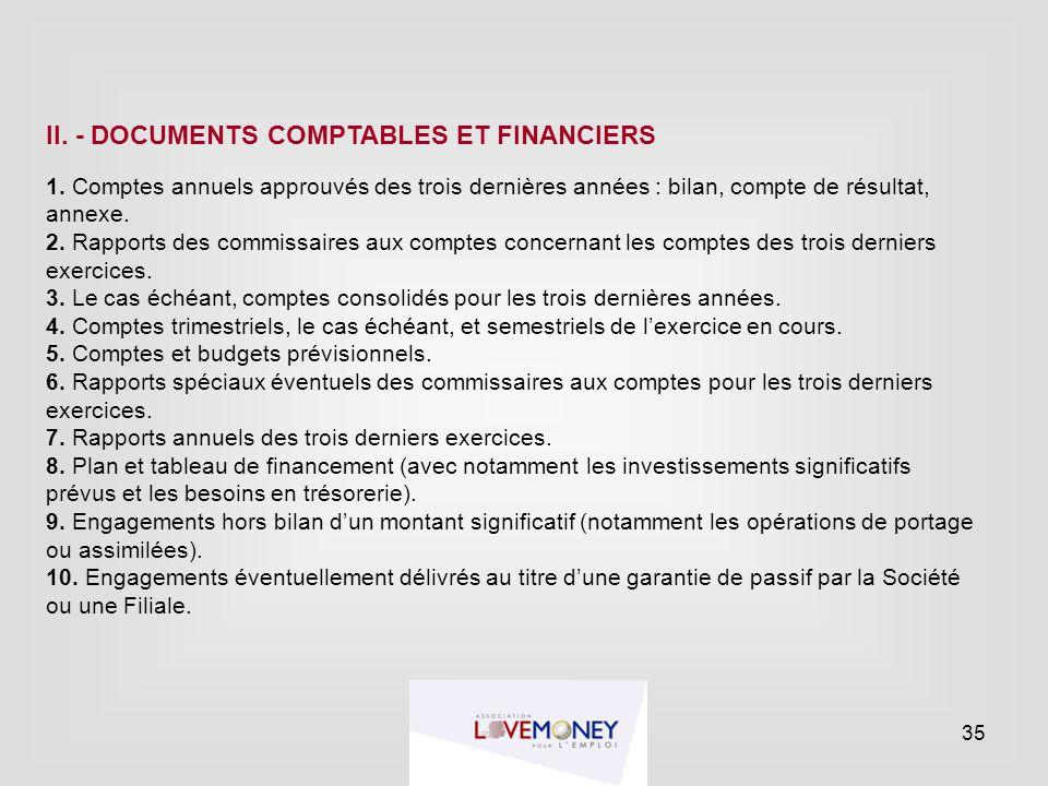 II. - DOCUMENTS COMPTABLES ET FINANCIERS 1. Comptes annuels approuvés des trois dernières années : bilan, compte de résultat, annexe. 2. Rapports des