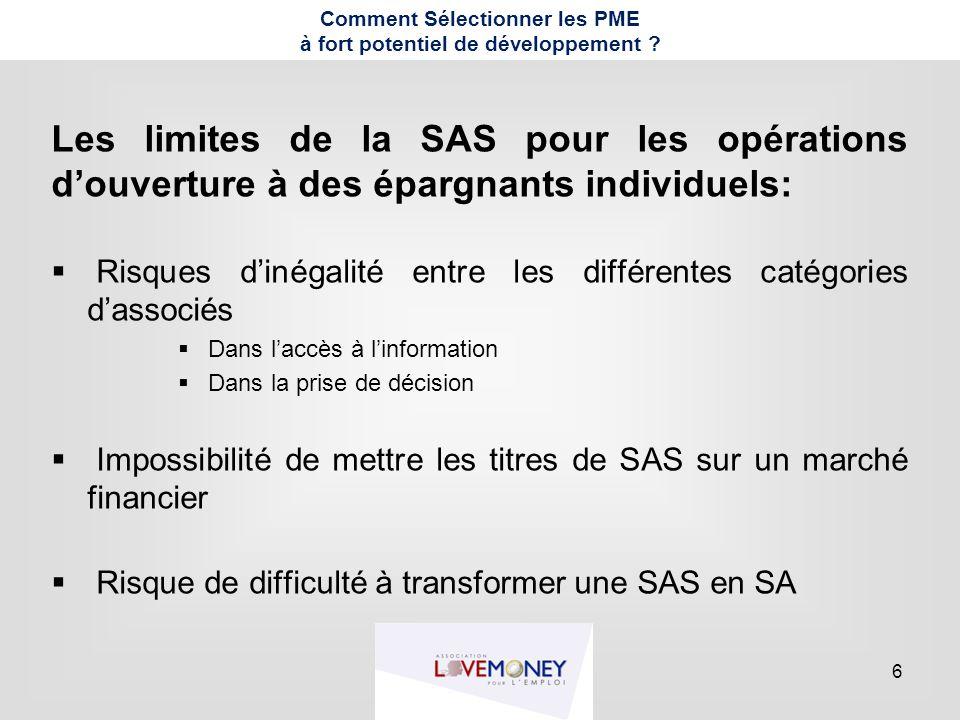 6 Comment Sélectionner les PME à fort potentiel de développement ? Les limites de la SAS pour les opérations d'ouverture à des épargnants individuels: