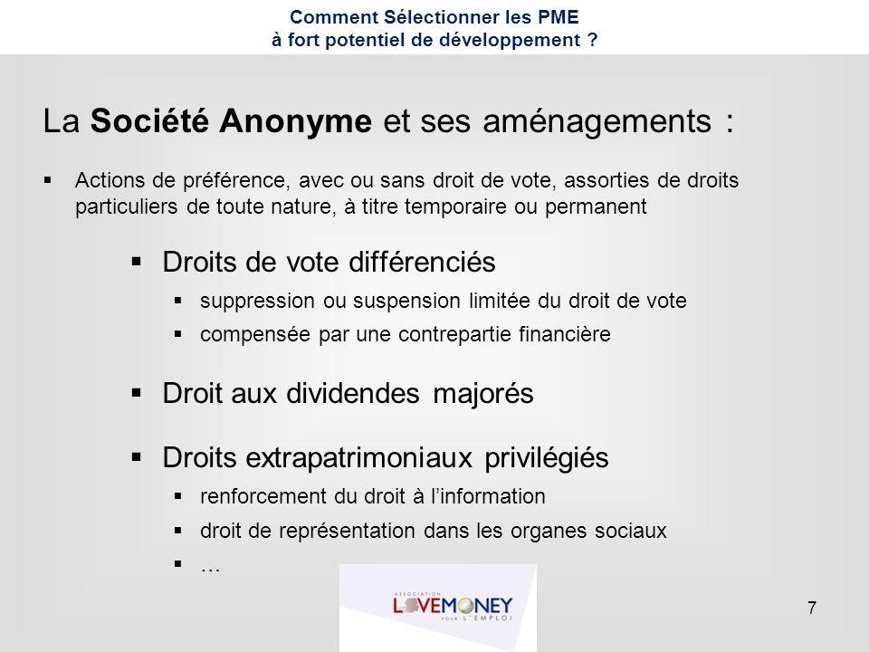 7 La Société Anonyme et ses aménagements :  Actions de préférence, avec ou sans droit de vote, assorties de droits particuliers de toute nature, à ti