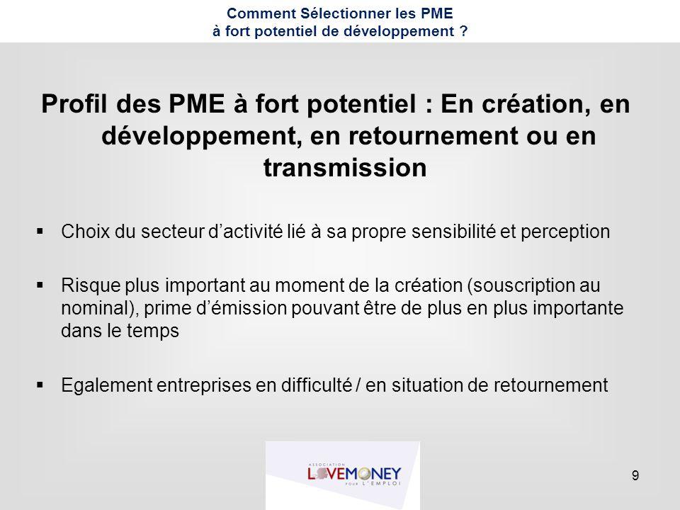 9 Comment Sélectionner les PME à fort potentiel de développement ? Profil des PME à fort potentiel : En création, en développement, en retournement ou
