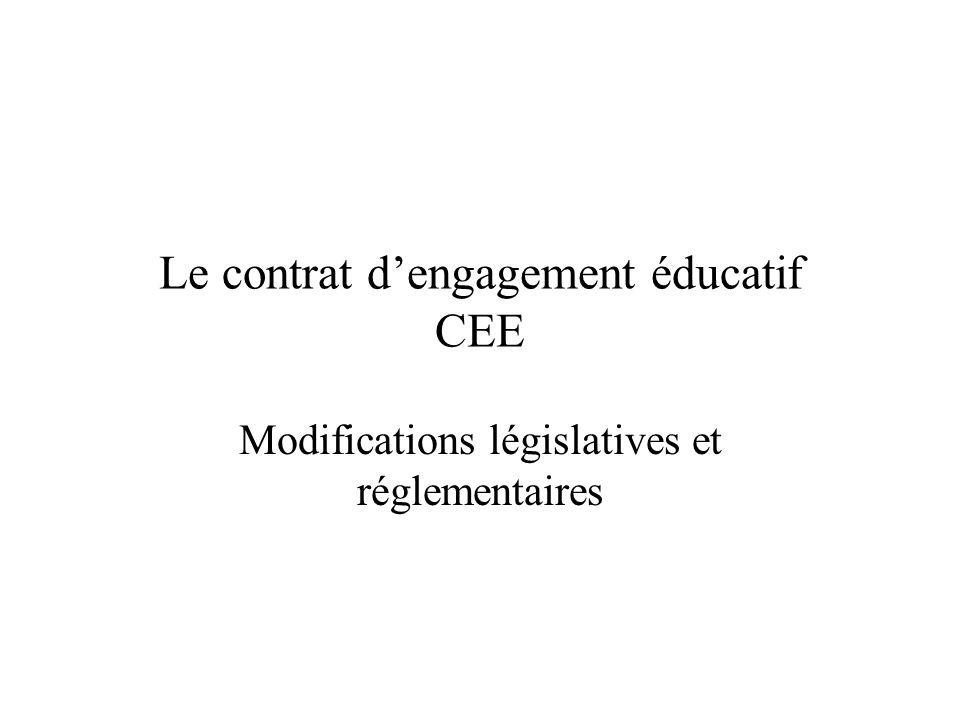 Le contrat d'engagement éducatif CEE Modifications législatives et réglementaires