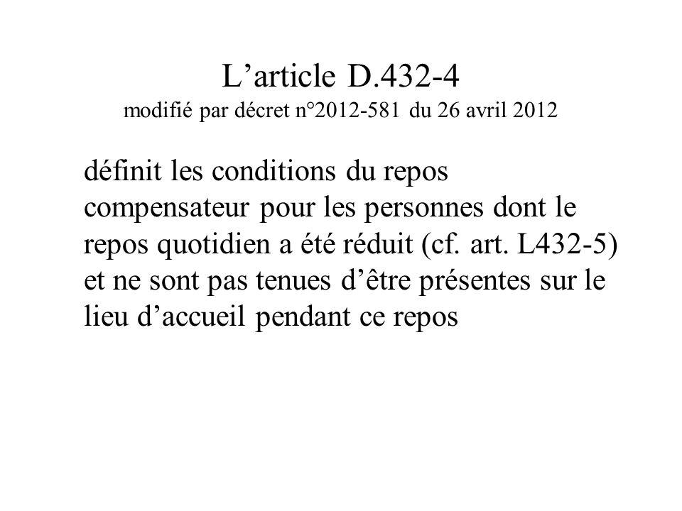 L'article D.432-4 modifié par décret n°2012-581 du 26 avril 2012 définit les conditions du repos compensateur pour les personnes dont le repos quotidi