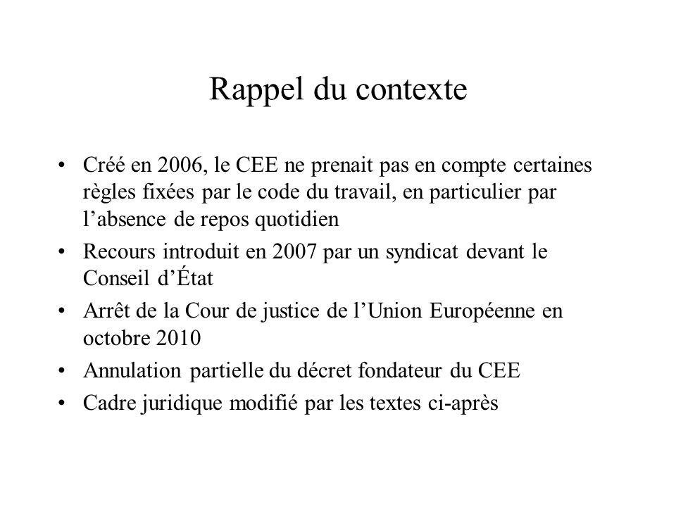 Rappel du contexte Créé en 2006, le CEE ne prenait pas en compte certaines règles fixées par le code du travail, en particulier par l'absence de repos