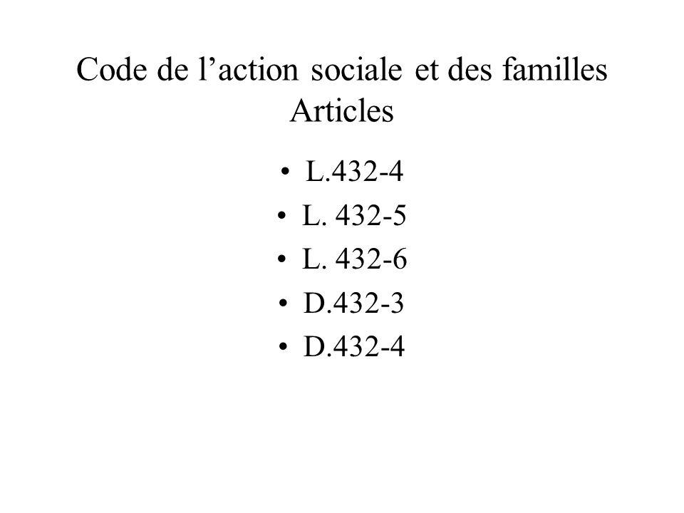Code de l'action sociale et des familles Articles L.432-4 L. 432-5 L. 432-6 D.432-3 D.432-4