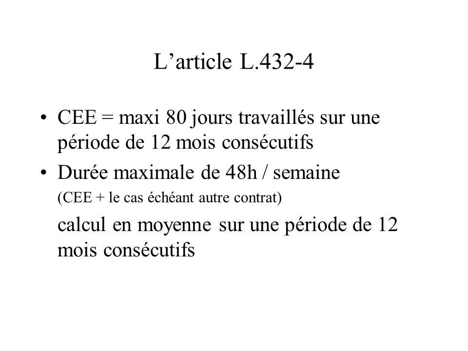 L'article L.432-4 CEE = maxi 80 jours travaillés sur une période de 12 mois consécutifs Durée maximale de 48h / semaine (CEE + le cas échéant autre co
