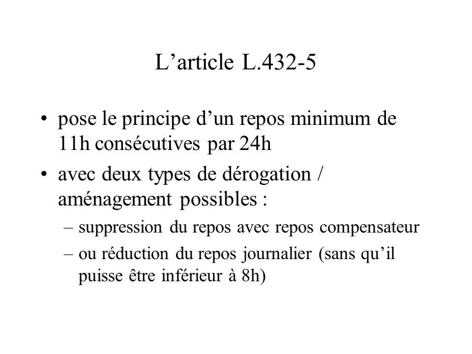 L'article L.432-5 pose le principe d'un repos minimum de 11h consécutives par 24h avec deux types de dérogation / aménagement possibles : –suppression