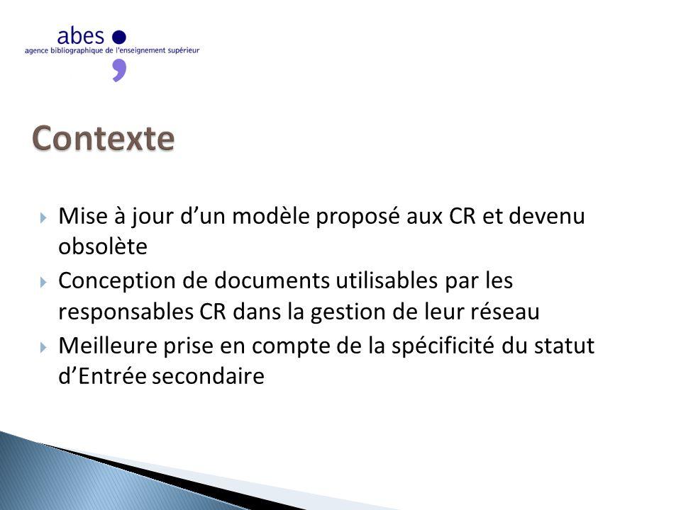 Mise à jour d'un modèle proposé aux CR et devenu obsolète  Conception de documents utilisables par les responsables CR dans la gestion de leur réseau  Meilleure prise en compte de la spécificité du statut d'Entrée secondaire