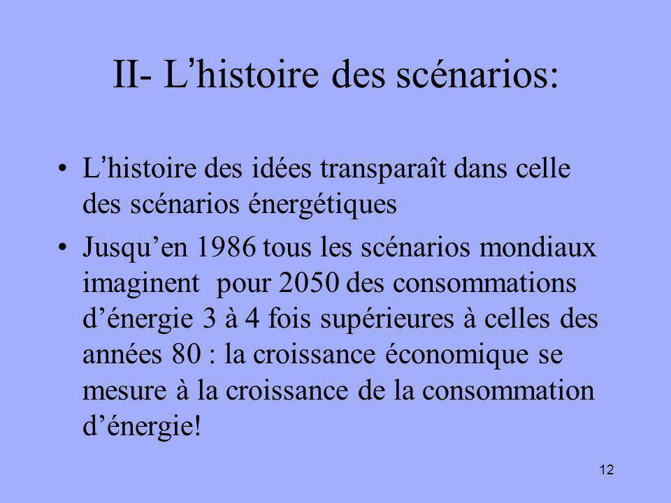 12 II- L'histoire des scénarios: L'histoire des idées transparaît dans celle des scénarios énergétiques Jusqu'en 1986 tous les scénarios mondiaux imaginent pour 2050 des consommations d'énergie 3 à 4 fois supérieures à celles des années 80 : la croissance économique se mesure à la croissance de la consommation d'énergie!