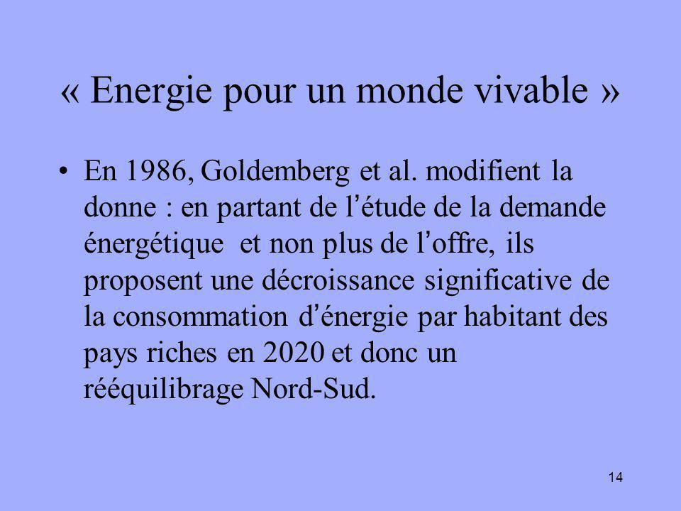 14 « Energie pour un monde vivable » En 1986, Goldemberg et al. modifient la donne : en partant de l'étude de la demande énergétique et non plus de l'