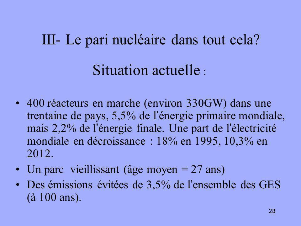 28 III- Le pari nucléaire dans tout cela? Situation actuelle : 400 réacteurs en marche (environ 330GW) dans une trentaine de pays, 5,5% de l'énergie p