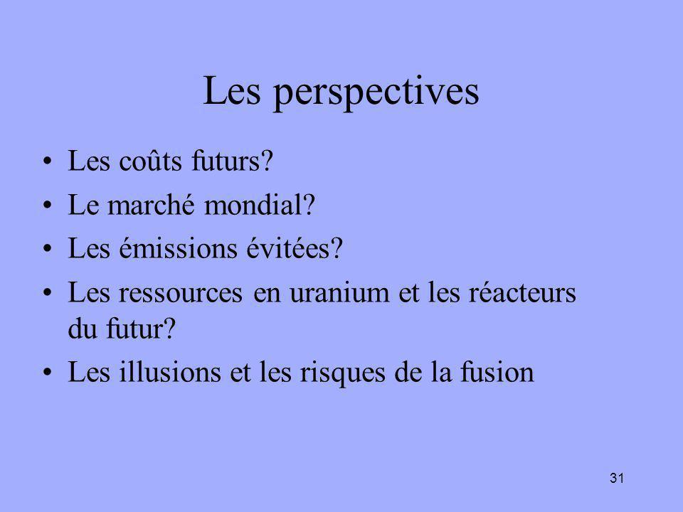 31 Les perspectives Les coûts futurs? Le marché mondial? Les émissions évitées? Les ressources en uranium et les réacteurs du futur? Les illusions et
