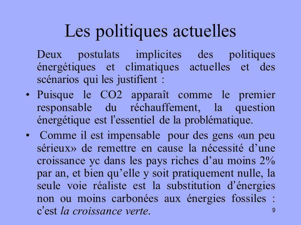 9 Les politiques actuelles Deux postulats implicites des politiques énergétiques et climatiques actuelles et des scénarios qui les justifient : Puisqu