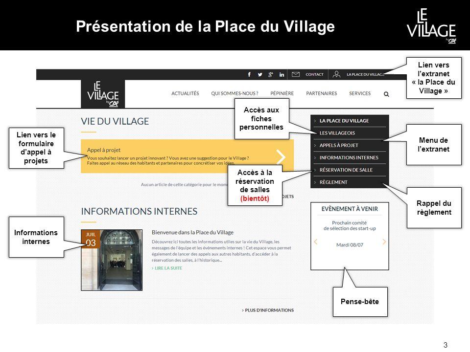 Présentation de la Place du Village 3 Lien vers l'extranet « la Place du Village » Menu de l'extranet Lien vers le formulaire d'appel à projets Informations internes Pense-bête Rappel du règlement Accès aux fiches personnelles Accès à la réservation de salles (bientôt)