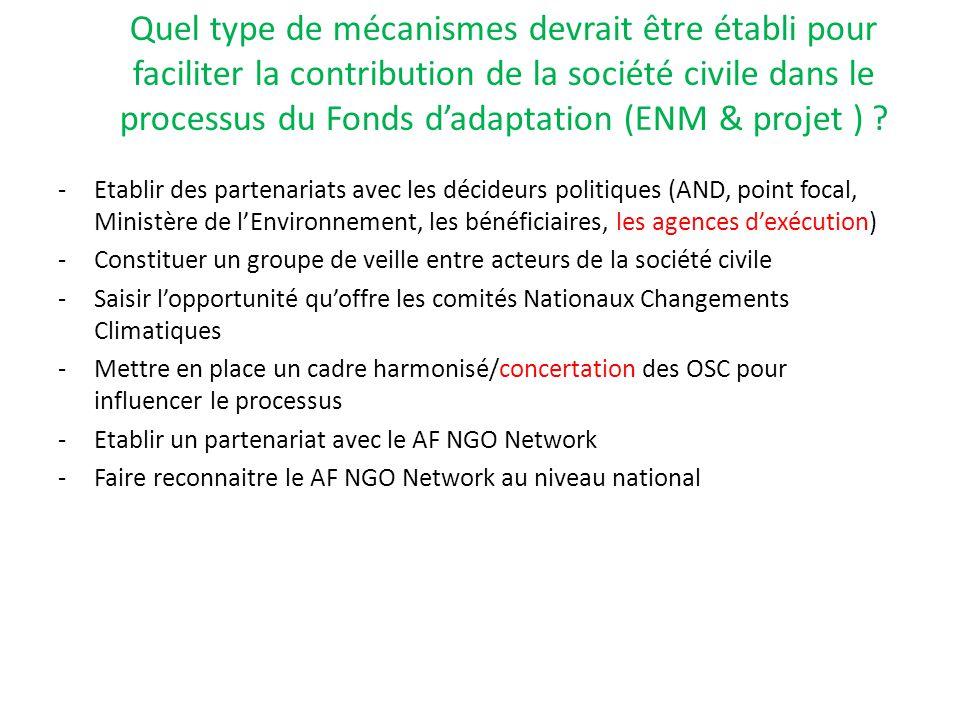 Quel type de mécanismes devrait être établi pour faciliter la contribution de la société civile dans le processus du Fonds d'adaptation (ENM & projet