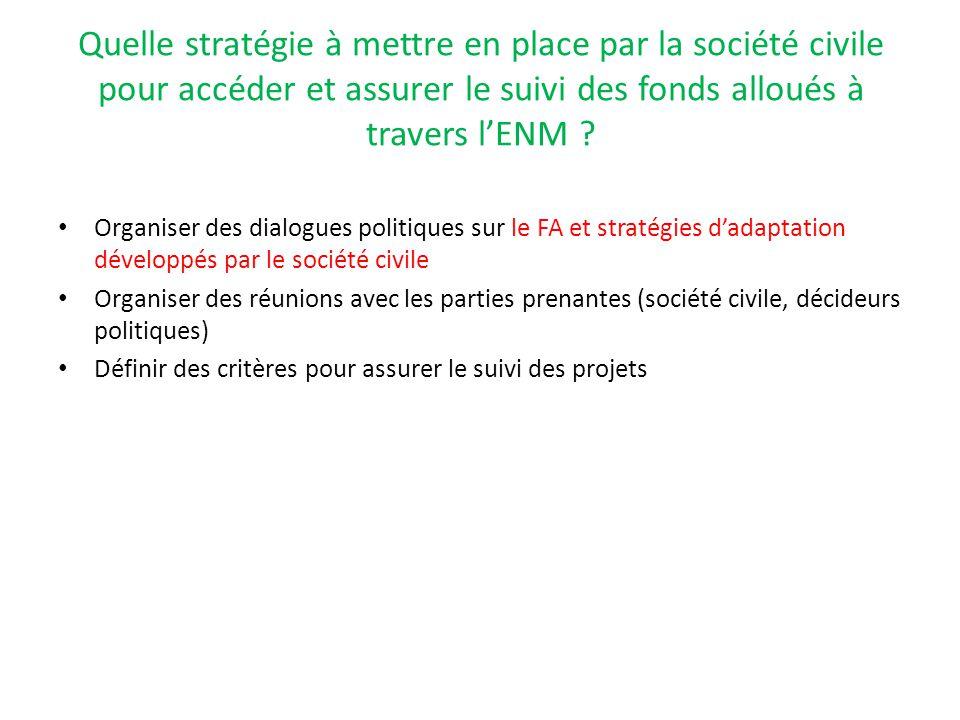 Quelle stratégie à mettre en place par la société civile pour accéder et assurer le suivi des fonds alloués à travers l'ENM ? Organiser des dialogues