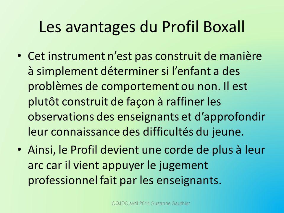 Les avantages du Profil Boxall Cet instrument n'est pas construit de manière à simplement déterminer si l'enfant a des problèmes de comportement ou no