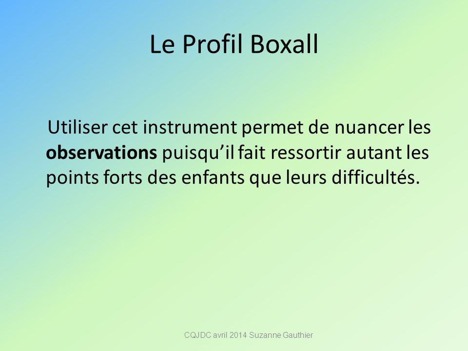 Le Profil Boxall Utiliser cet instrument permet de nuancer les observations puisqu'il fait ressortir autant les points forts des enfants que leurs dif