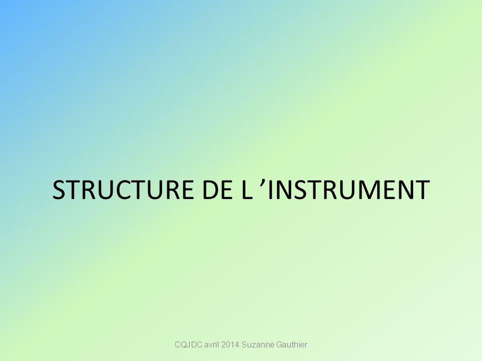 STRUCTURE DE L 'INSTRUMENT CQJDC avril 2014 Suzanne Gauthier