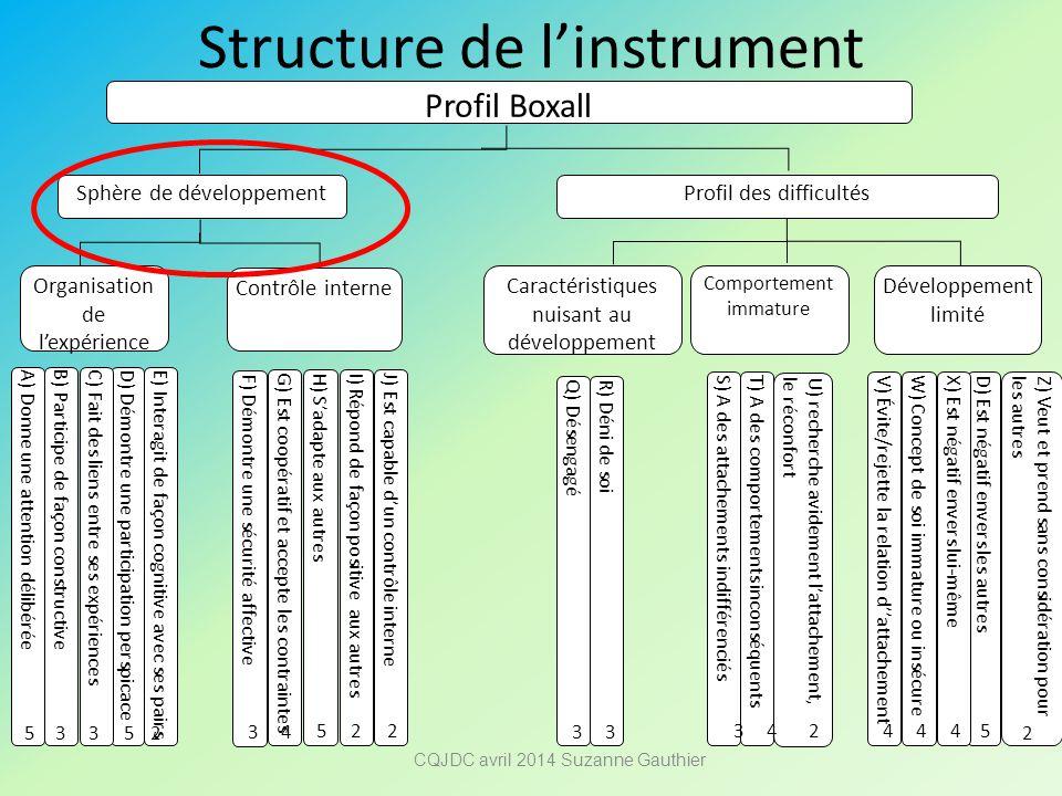 Structure de l'instrument Profil Boxall Sphère de développement Profil des difficultés Organisation de l'expérience Contrôle interne A) Donne une atte