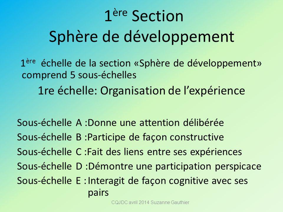 1 ère Section Sphère de développement 1 ère échelle de la section «Sphère de développement» comprend 5 sous-échelles 1re échelle: Organisation de l'ex