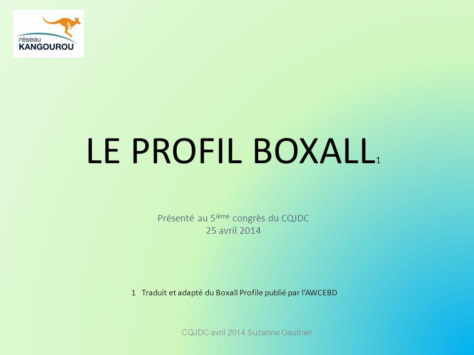 LE PROFIL BOXALL 1 Présenté au 5 ième congrès du CQJDC 25 avril 2014 1 Traduit et adapté du Boxall Profile publié par l'AWCEBD CQJDC avril 2014 Suzann