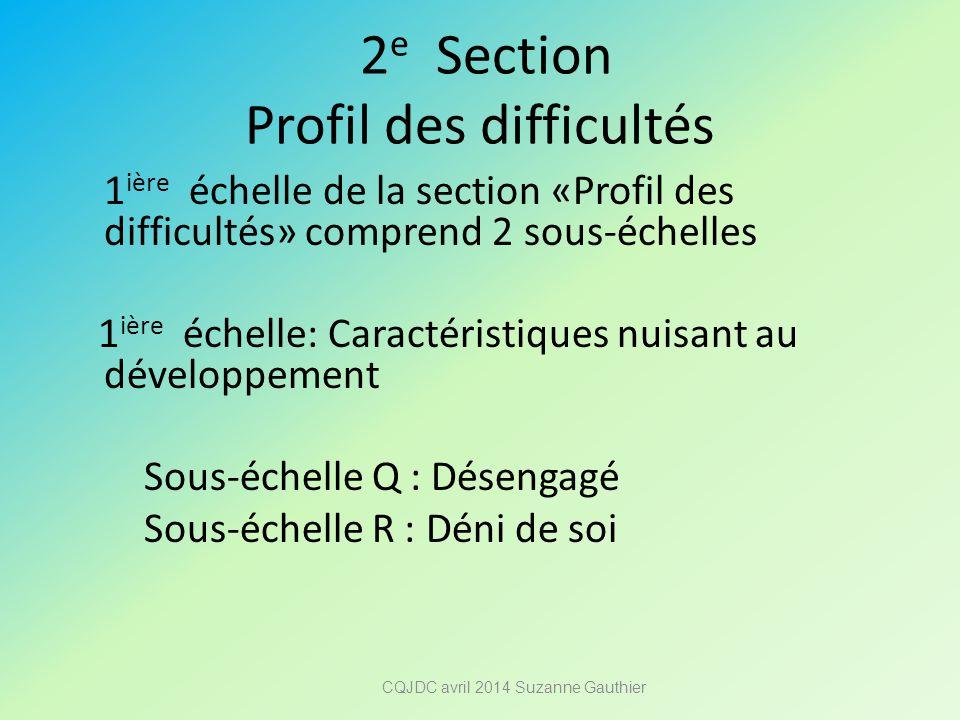 2 e Section Profil des difficultés 1 ière échelle de la section «Profil des difficultés» comprend 2 sous-échelles 1 ière échelle: Caractéristiques nui