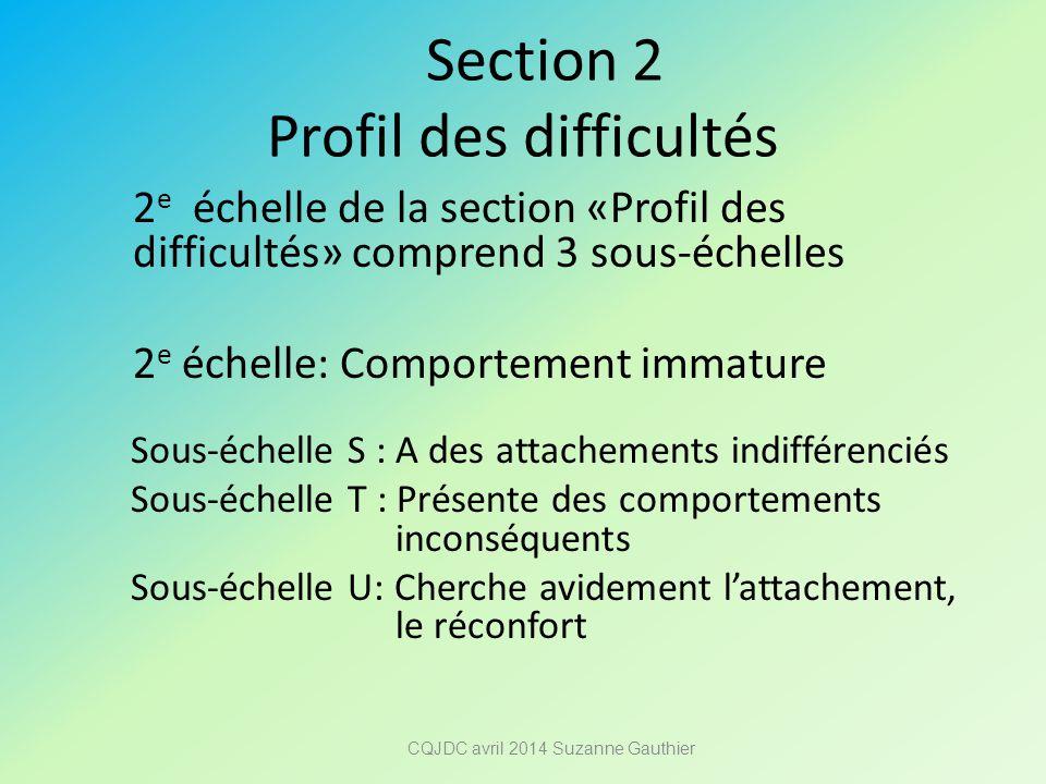 Section 2 Profil des difficultés 2 e échelle de la section «Profil des difficultés» comprend 3 sous-échelles 2 e échelle: Comportement immature Sous-é