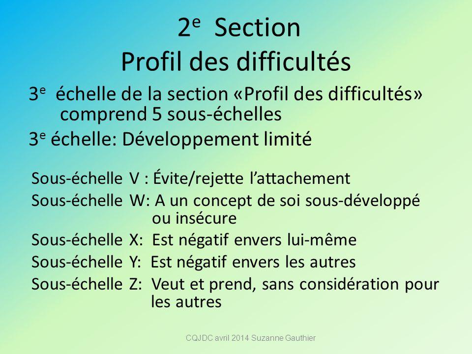 2 e Section Profil des difficultés 3 e échelle de la section «Profil des difficultés» comprend 5 sous-échelles 3 e échelle: Développement limité Sous-