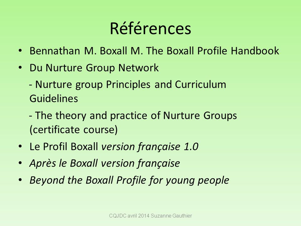 Références Bennathan M. Boxall M. The Boxall Profile Handbook Du Nurture Group Network - Nurture group Principles and Curriculum Guidelines - The theo