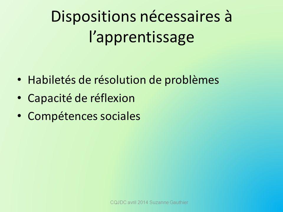 Dispositions nécessaires à l'apprentissage Habiletés de résolution de problèmes Capacité de réflexion Compétences sociales CQJDC avril 2014 Suzanne Ga
