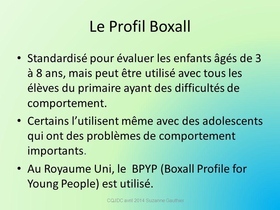 Le Profil Boxall Standardisé pour évaluer les enfants âgés de 3 à 8 ans, mais peut être utilisé avec tous les élèves du primaire ayant des difficultés