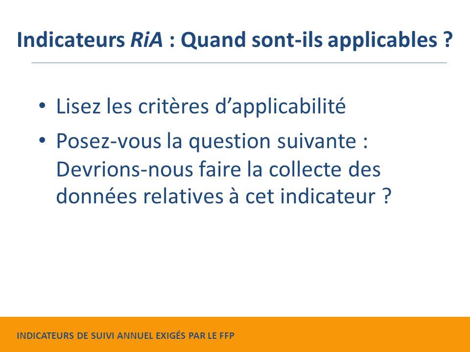 Lisez les critères d'applicabilité Posez-vous la question suivante : Devrions-nous faire la collecte des données relatives à cet indicateur .