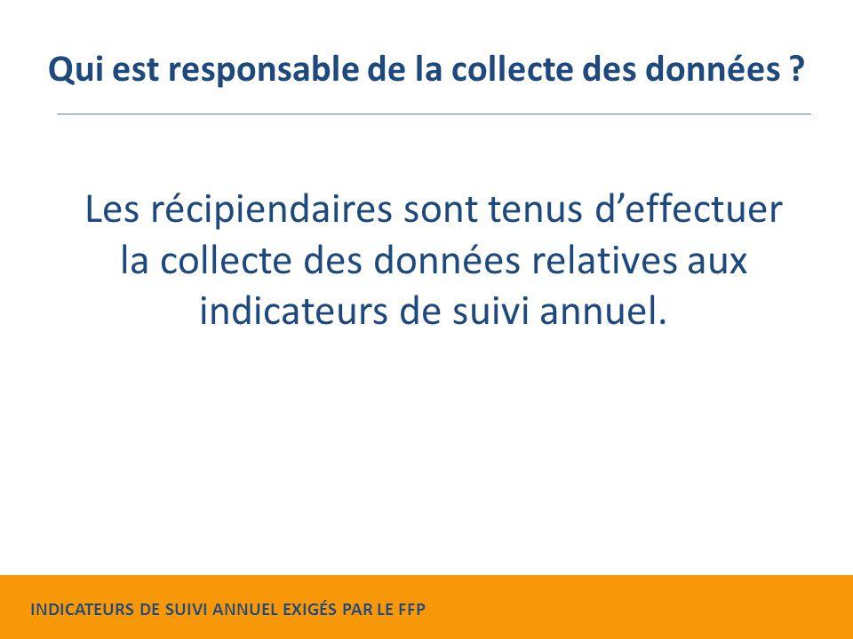 Les récipiendaires sont tenus d'effectuer la collecte des données relatives aux indicateurs de suivi annuel.