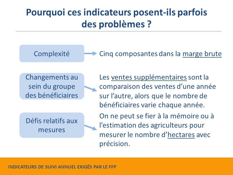 Complexité Changements au sein du groupe des bénéficiaires Défis relatifs aux mesures Pourquoi ces indicateurs posent-ils parfois des problèmes .