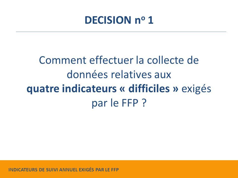 Comment effectuer la collecte de données relatives aux quatre indicateurs « difficiles » exigés par le FFP .