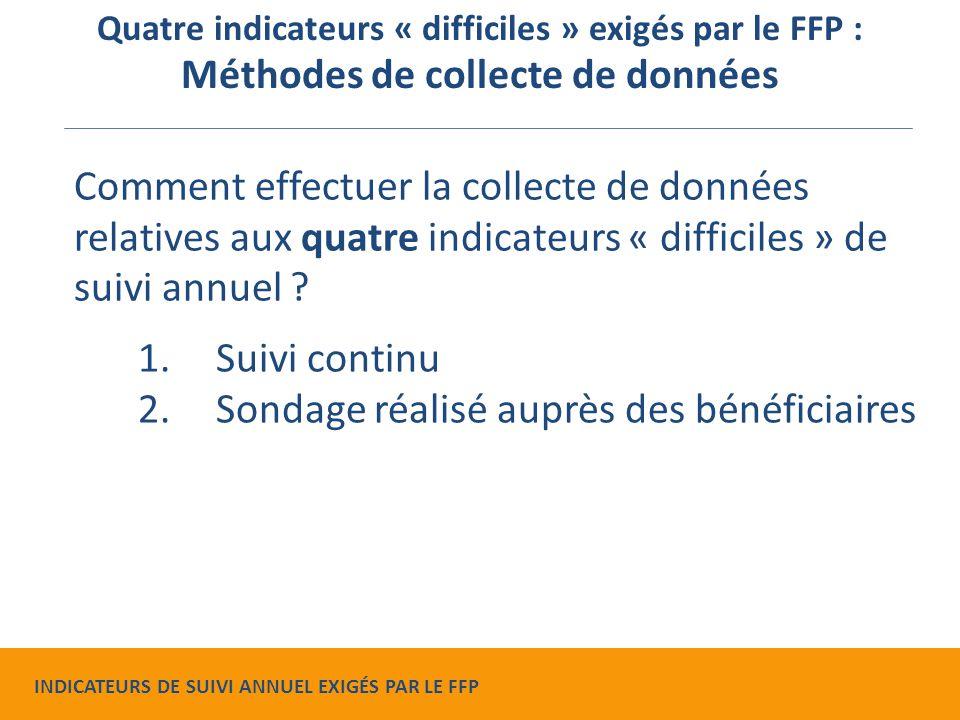 1.Suivi continu 2.Sondage réalisé auprès des bénéficiaires Comment effectuer la collecte de données relatives aux quatre indicateurs « difficiles » de suivi annuel .
