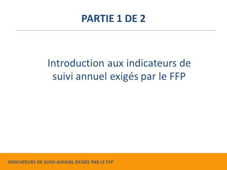 Montrer les progrès effectués Effectuer des rectifications à mi- parcours Faire la planification du projet Raisons d'effectuer un suivi annuel INDICATEURS DE SUIVI ANNUEL EXIGÉS PAR LE FFP